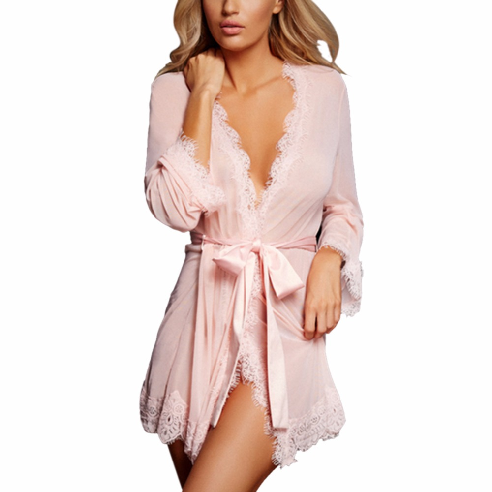 Sexy Women Robes Nightgown Bathrobe Pijamas Lace See-through Sleepwear Underwear Womens  ...