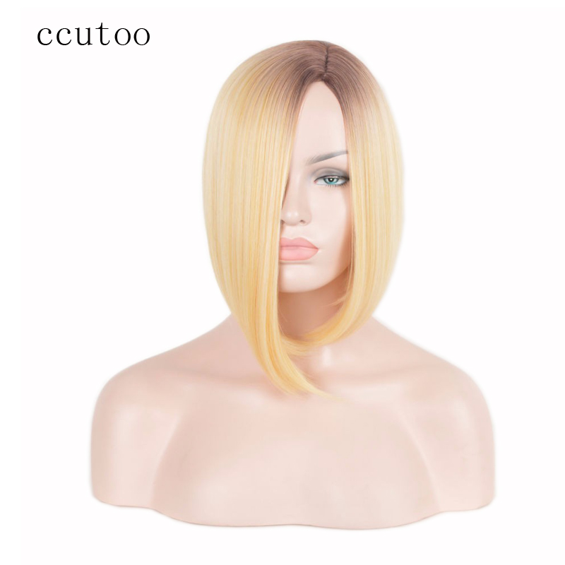 ccutoo Blonde Straight Bob Style Hair Dark Root Ombre Synthetic Hair Wigs Women Short Cosplay Wig Heat Resistance fiber