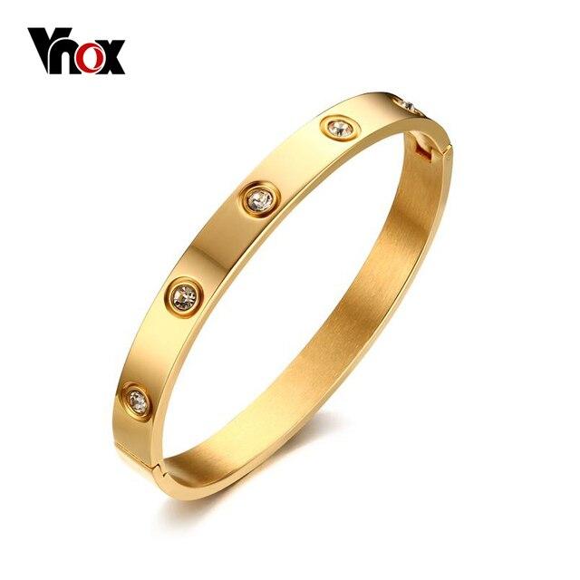 Vnox Mode Kristall Armreif Gold-farbe Armreif Edelstahl Armbänder für Frauen Armbänder & Armreifen Bijoux