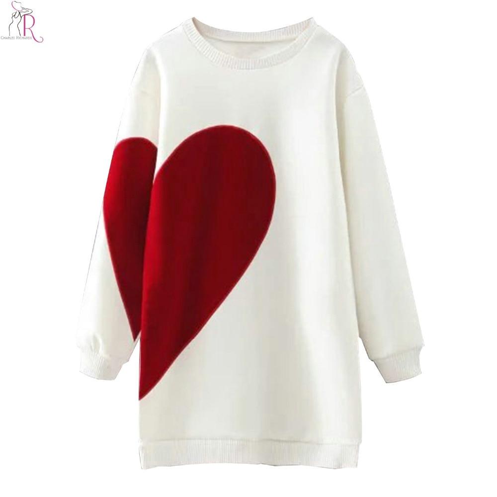 2 krāsu sirds vēstuļu drukāšana ar garu, lielizmēra džemperi, - Sieviešu apģērbs