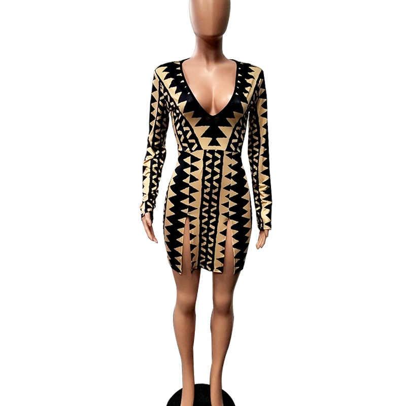 2019 распродажа, настоящее прямое осеннее платье до щиколотки, Vestido Longo, женское платье, бесплатная доставка, сексуальное платье с v-образным вырезом и принтом