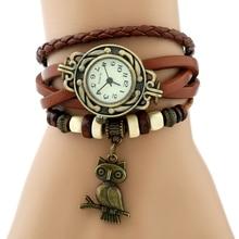Gnova платины кожаный браслет Для женщин часы бронзовая сова очарование Винтаж Этническая мода наручные часы кварцевые a731