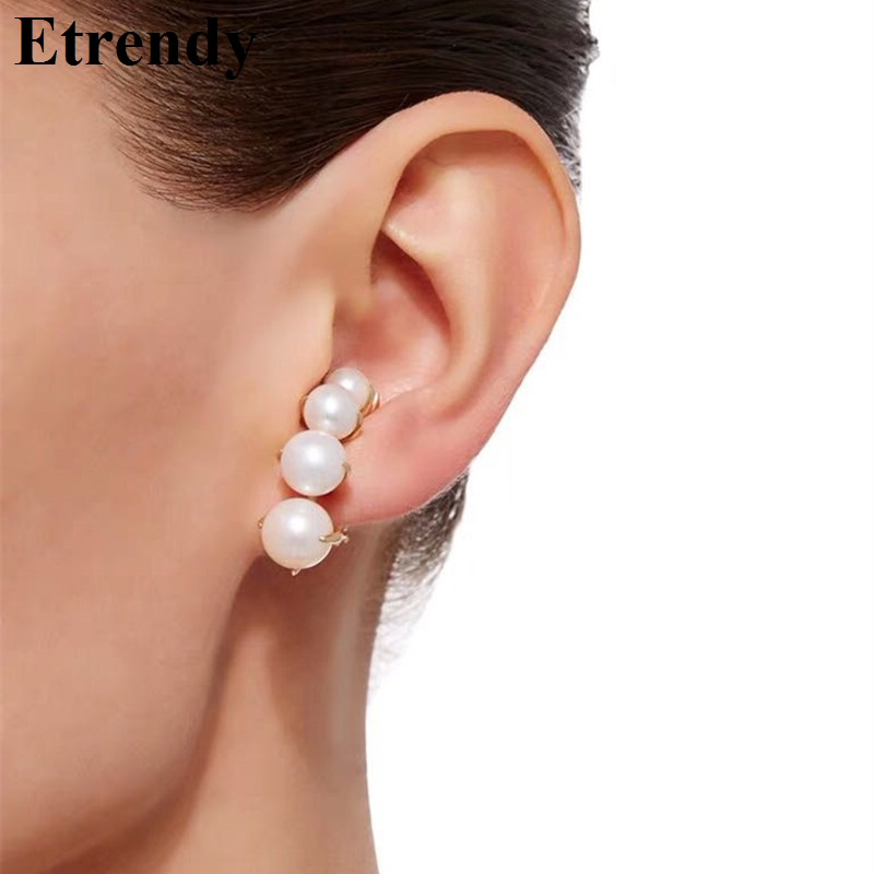 2020 Fashion Earrings For Women Personality Statement Pearl Ear Cuffs Pendientes Jewelry Brincos(China)