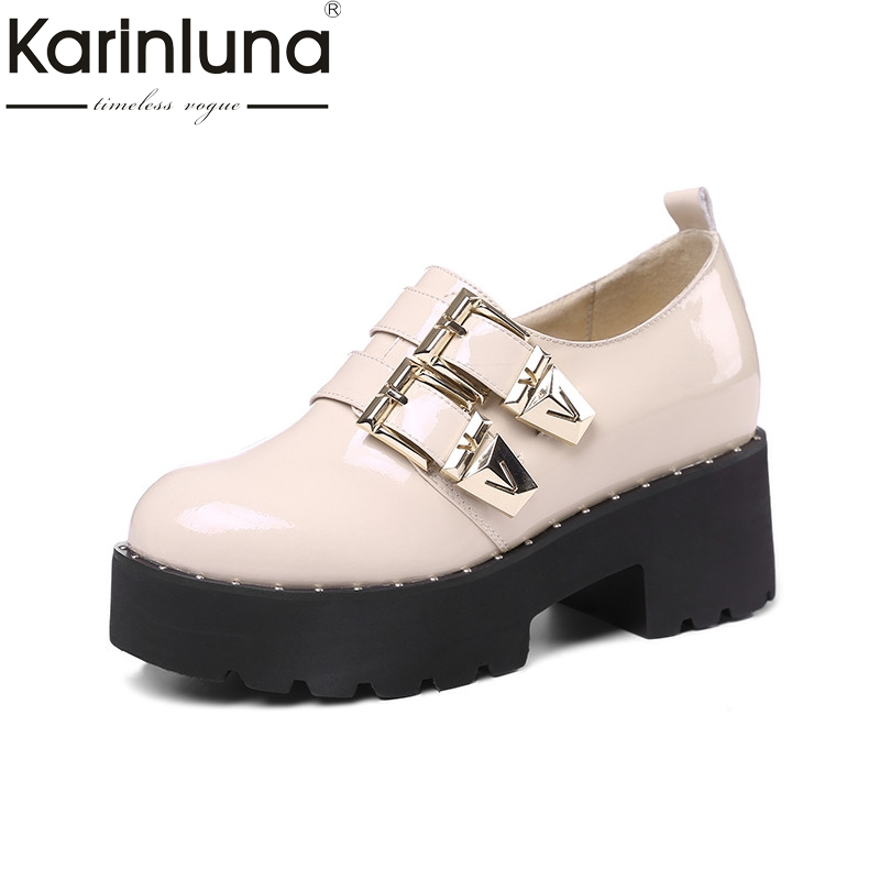 Karinluna 2018 Spring Autumn Brand Patent Flat Platform Shoes Woman slip-on Buckle Height Increasing Women Date Casual Shoes free shipping spring autumn women s flatform casual all match board shoes height increasing shoes