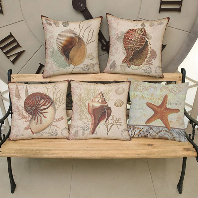 Vintage Marine Life Decorative Pillows Covers Home Decor Whelk Sea Snail  Starfish Sofa Throw Pillow Cushion