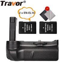 Travor Батарейный держатель для Nikon D5100 D5200 D5300 DSLR камеры+ 2 шт EN-EL14 батареи+ 2 шт микрофибра ткань для очистки