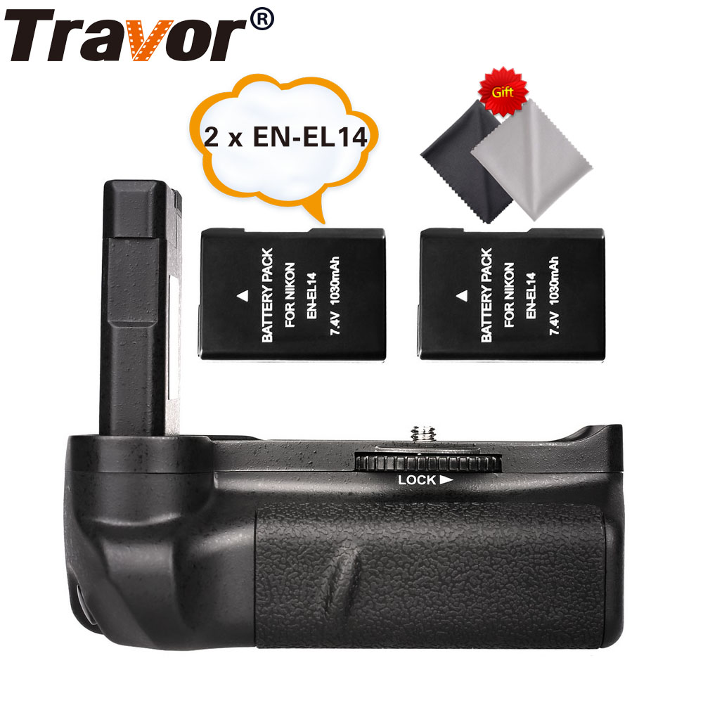 Travor Battery Grip Holder For Nikon D5100 D5200 D5300 DSLR Camera+2pcs EN EL14 batteries+2pcs Microfiber Cleaning Cloth-in Battery Grips from Consumer Electronics    1