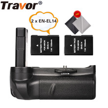 цены Travor Battery Grip Holder For Nikon D5100 D5200 D5300 DSLR Camera+2pcs EN-EL14 batteries+2pcs Microfiber Cleaning Cloth