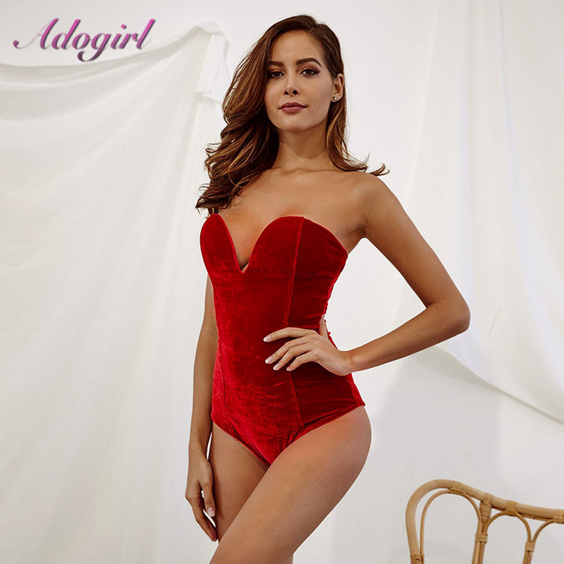 Adogirl Woman Sleeveless Strapless Velvet Bodysuit Sesy Backless V Neck Bodycon   Jumpsuit   Fashion Body Tops Clothes Women Suit