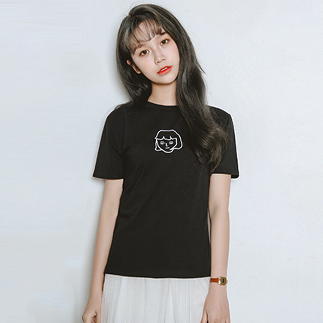 2017 coreano kawaii Harajuku mujer negro ropa ulzzang