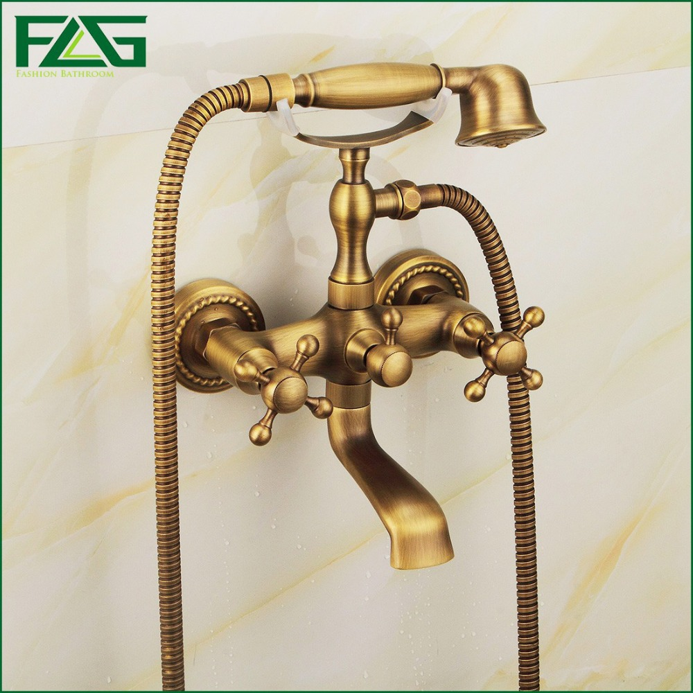FLG New Arrival Rain Shower Faucets Mixer Tap+Handheld Antique Brass Wall Mounted Bath Shower Faucet Set Bathtub Faucet HS022 new chrome 6 rain shower faucet set valve mixer tap ceiling mounted shower set