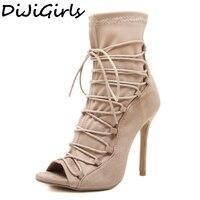 DiJiGirls Femmes Peep Toe Bottes Croix Bracelet Extensible Chausson Femme Roms Gladiateur Flock Chaussures Stiletto Talons Parti CLubwear