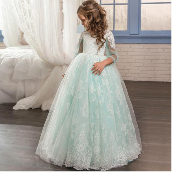 2017 NEW Baby Princess Flower Girl Dress Lace Appliques Ball Gowns for Girls Birthday First Communion Gown Kids TuTu Dress 4pcs new for ball uff bes m18mg noc80b s04g