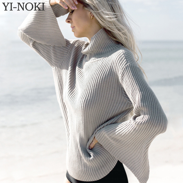YI-NOKI Fashion Turtleneck Flare Sleeves Sweater Loose Solid Pullover Winter Sweater Women Pull Femme Tops