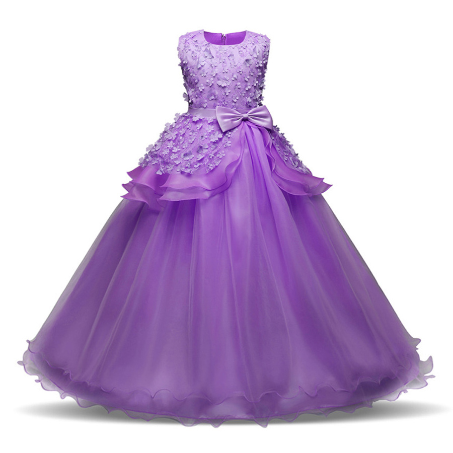 Summer Flower Girl Dress for Kids Girls Clothes Kid Dresses 2018 Party Princess Vestidos Nina 6 7 8 year Birthday Prom Dress kids flower girls dresses pageant vestidos bebes lace tulle kid girl party dress for wedding children summer clothes birthday