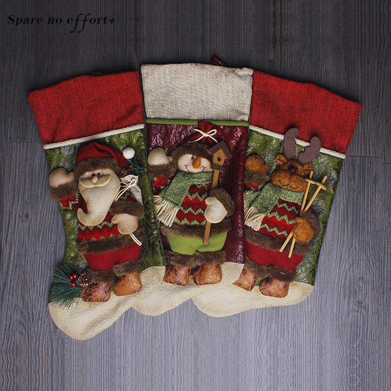 Christmas Gift Bag Navidad Santa Christmas Stocking Claus Kids Gift Bag Xmas Decoration Candy Bag Tree Ornaments Supplies