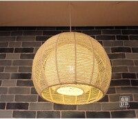 Японский ретро круглый бамбука, ротанга подвесные светильники из ротанга сад балкон абажур спальня исследование Ресторан подвесные светил