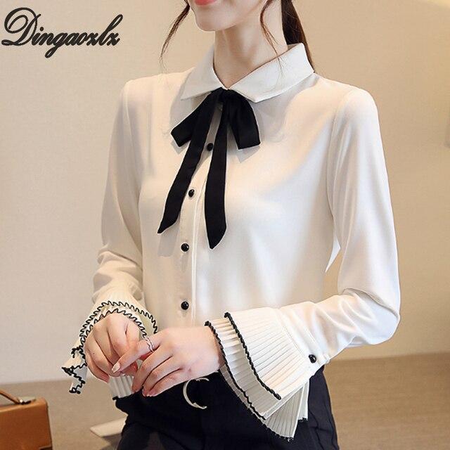 c094ca93565f2d Dingaozlz 2018 Herbst Neue Koreanische Weiße bluse Elegante Fliege Tops  Mode Flare hülse Büro dame shirt Frauen Chiffon