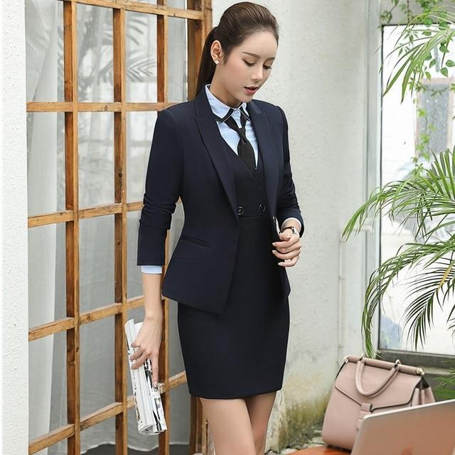 e0183dc4287 Autumn Winter Formal Professional Work Suits With 3 Piece Jackets + Dress +  Blouse Formal Uniforms Outfits Blazers Plus Size 4XL