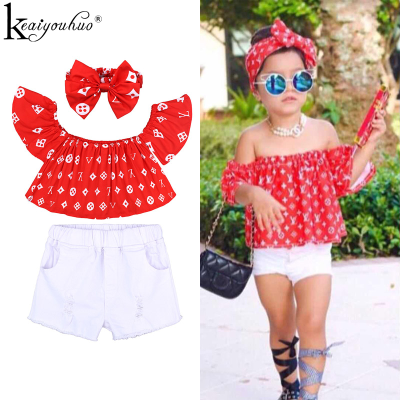 KEAIYOUHUO 2019 Baby Girl Clothes Sets Short Sleeve Kids Clothes For Girl Outfit Suit Children Clothing Tracksuit For Girls Suit