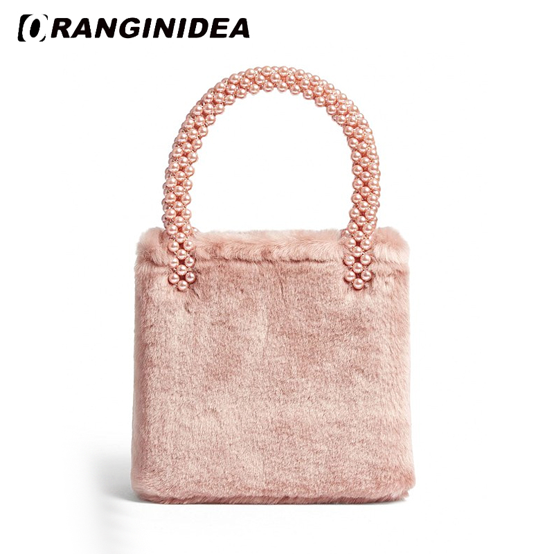 Rabbit Fur Women Winter Handbags Pearl Top-handle Tote Bags Faux Fur Lady Handbag 2018 New Small Bag Pink White pearl beading faux fur pocket ribbed dress page 6