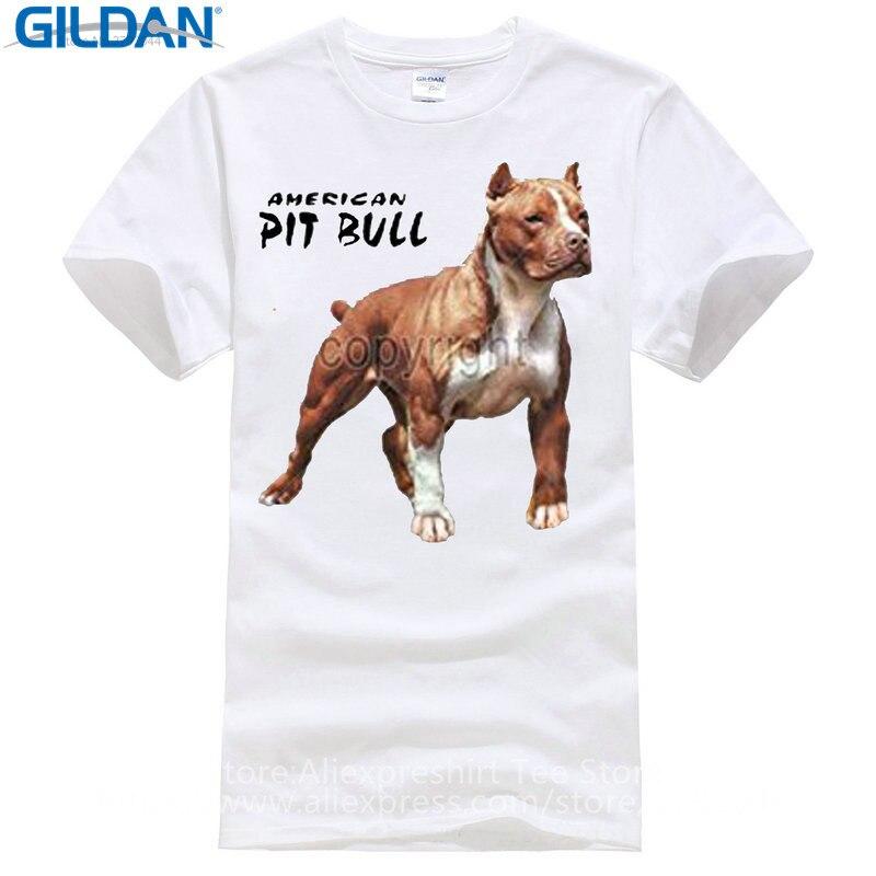 Удивительный футболки для парней с круглым вырезом короткий рукав Регулярный Мужская питбуль американского гордо футболка