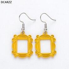 Amigos TV Show grandes pendientes mirilla marco amarillo coreano pendiente joyería de moda mejor amigo/Valentín regalo de día para novia