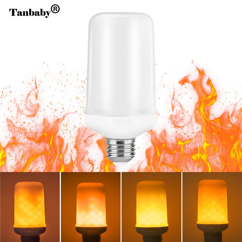 Tanbaby LED Flame Effect Fire Night Light Simulated Creative Flicker Antique Lantern Atmosphere Christmas decoration light bulb