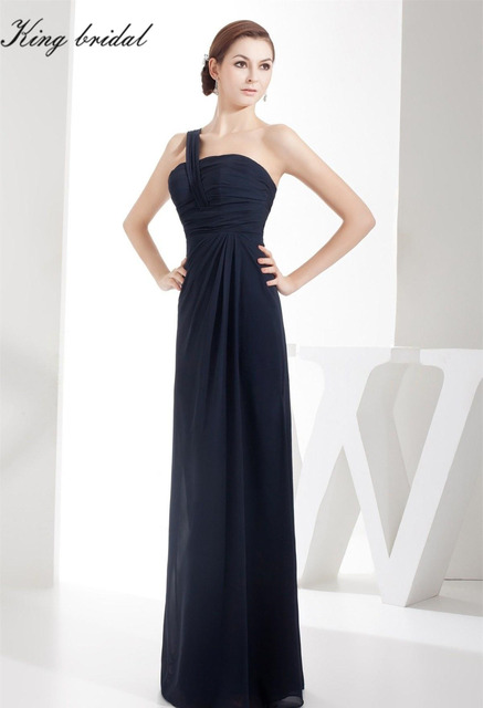 20db401be 2017 Navy Chiffon Sheath Column Sleeveless One Shoulder Long Evening Dresses  Simple Floor Length Prom Gowns Formal Dress