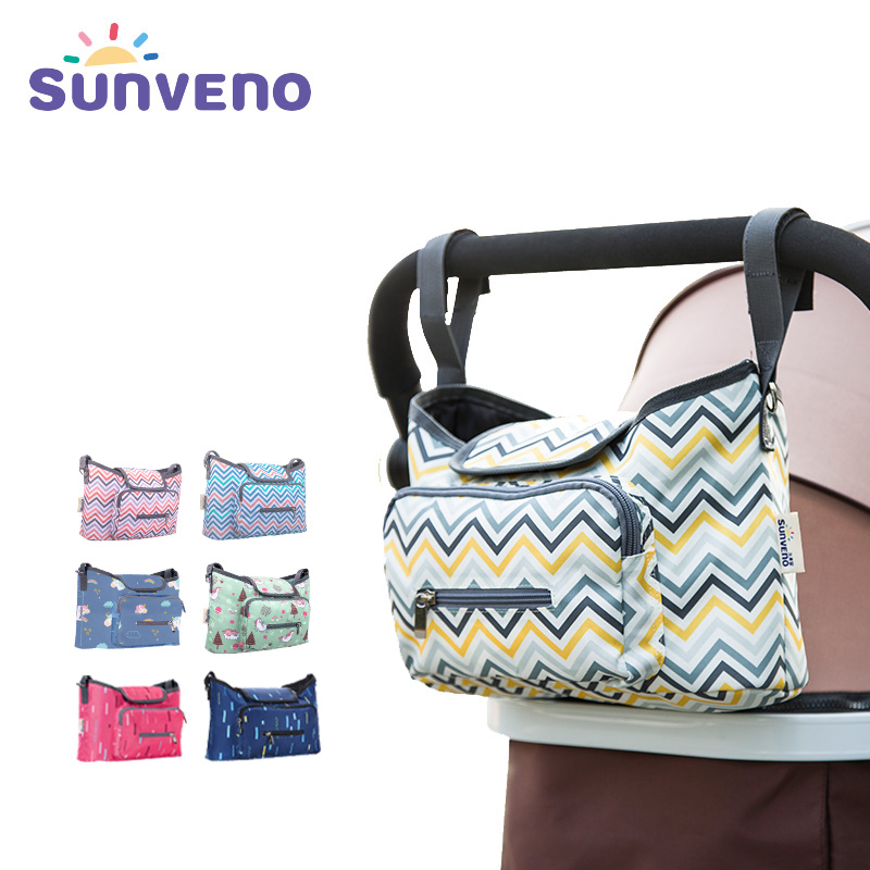 SUNVENO Baby Strollers Bag Organizer Waterproof Diaper Nappy Bag Stroller Accessories Baby Bags For Mom sunveno white 4t