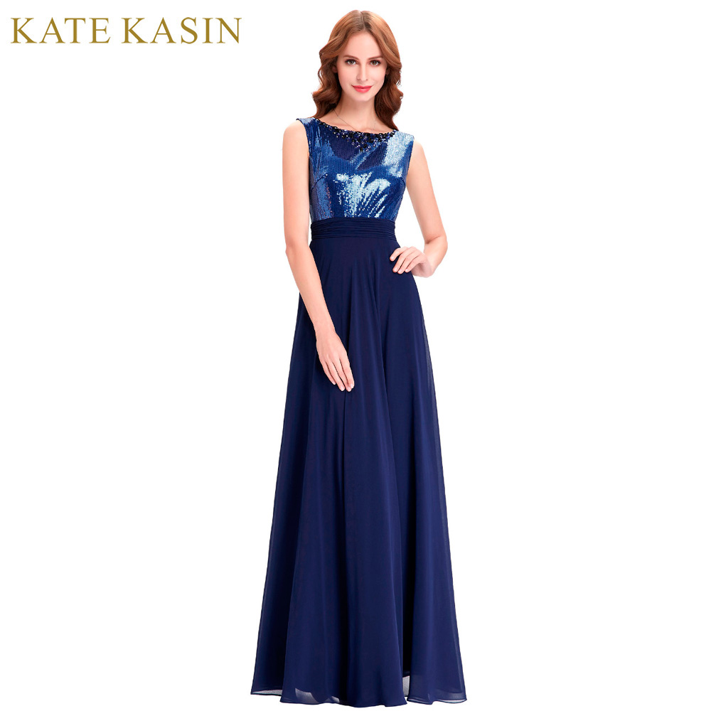 Kate kasin long bridesmaid dresses 2017 navy blue wedding for Navy dresses for weddings