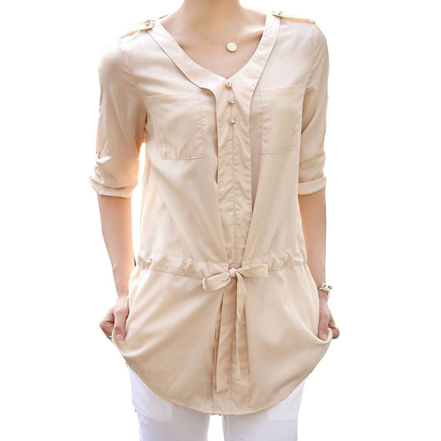 High Quality Womens Casual Blouses & Shirts Blouses V Neck Half Sleeved Buttons Waist Draw String Female Long Loose Top Blouse