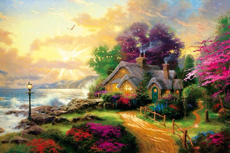 1000 Pieces Puzzle Landscape Adult Thick Story House Jigsaws For Children Adults Educational Toy