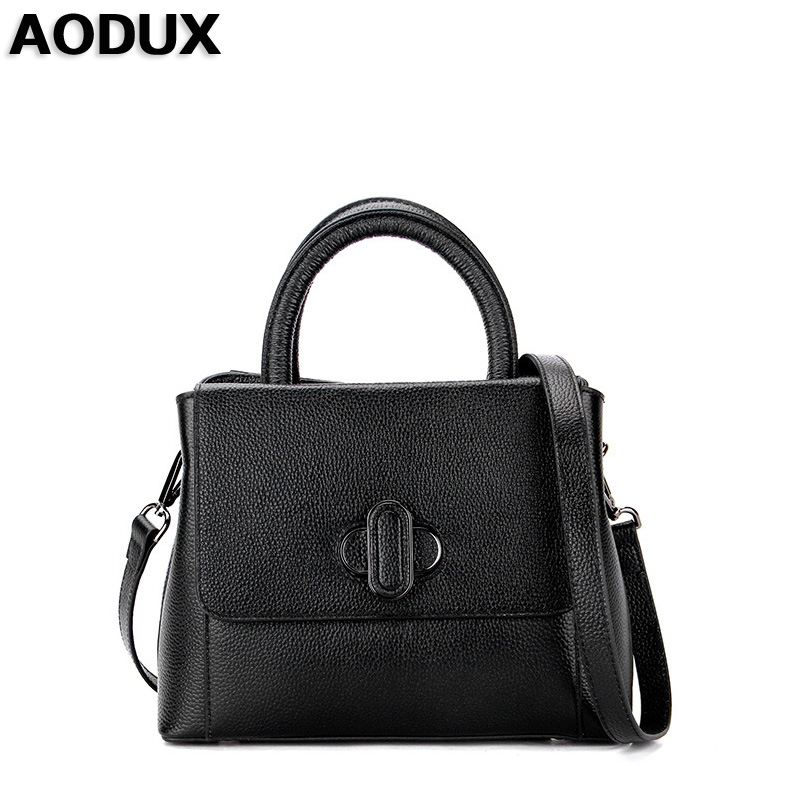 AODUX First Layer Genuine Leather Small Women Tote Handbags Ladies Real Leather Female Bags Ladies Messenger Bag Hobo Satchel bag female new genuine leather handbags first layer of leather shoulder bag korean zipper small square bag mobile messenger bags