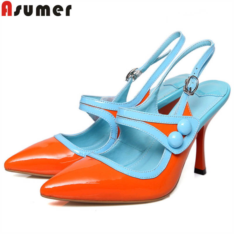 ASUMER 2019 fashion summer new shoes woman pointed toe shallow pumps women shoes cow patent leather