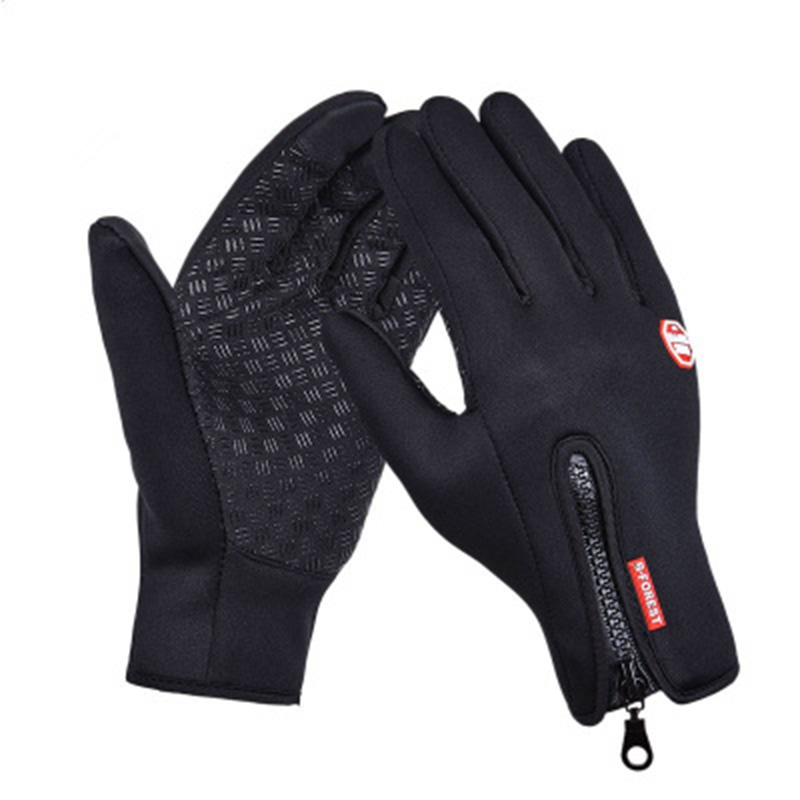 NORMOV Winter Warm Unisex Gloves Fashion Print With Zipper Black Touch Screen Full Finger Outdoor Nylon Gloves