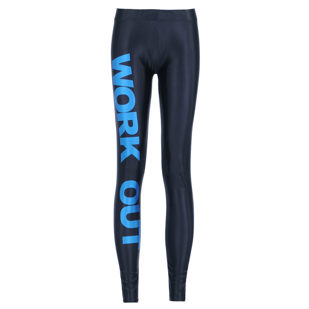 New 9098 Sexy Girl Workout Pants Milk Blue Letter Alphabet Work Out Printed Stretch Fitness Women Leggings Plus Size