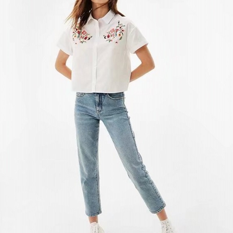 99683de6 VOGUEIN New Womens Short Sleeve Floral Embroidered White Button Down Shirt  Blouse Tops Size SML Wholesale-in Blouses & Shirts from Women's Clothing on  ...