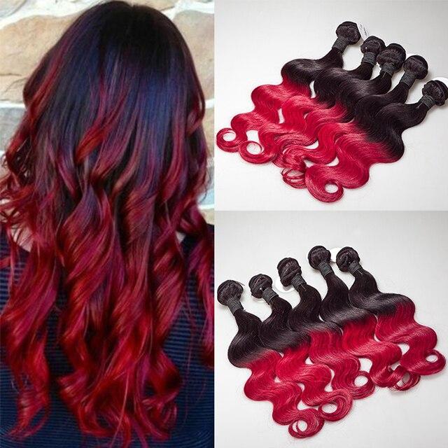 Super 6A Ombre Hair Extensions brésilienne Ombre cheveux Weave vague de  QQ59