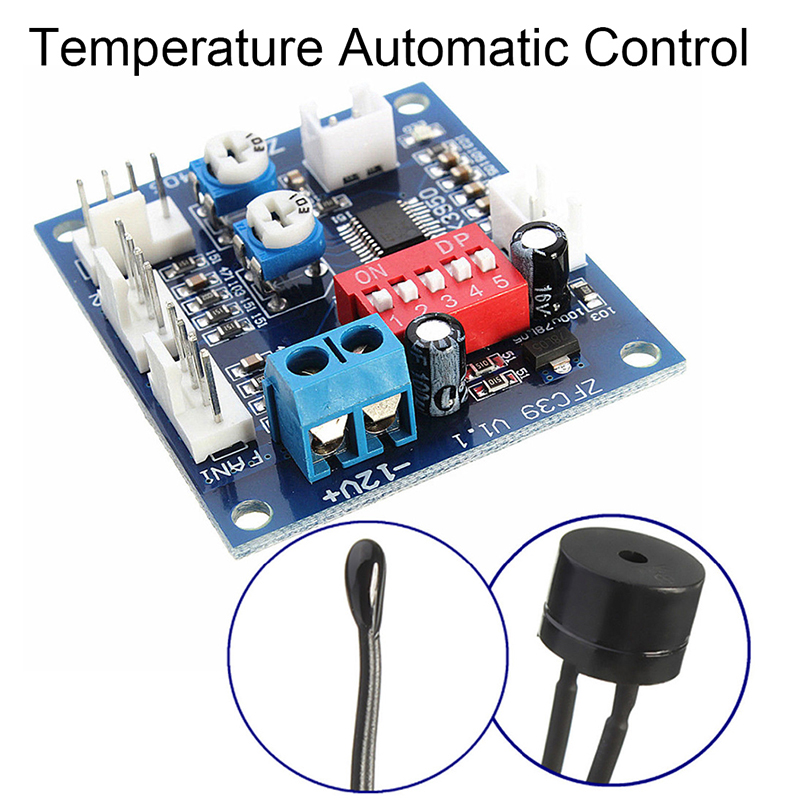 Image 2 - DC 12V 5A PWM PC CPU Fan Temperature Control Speed Controller Board Speed Controller Temperature Probe Buzzle-in Fans & Cooling from Computer & Office