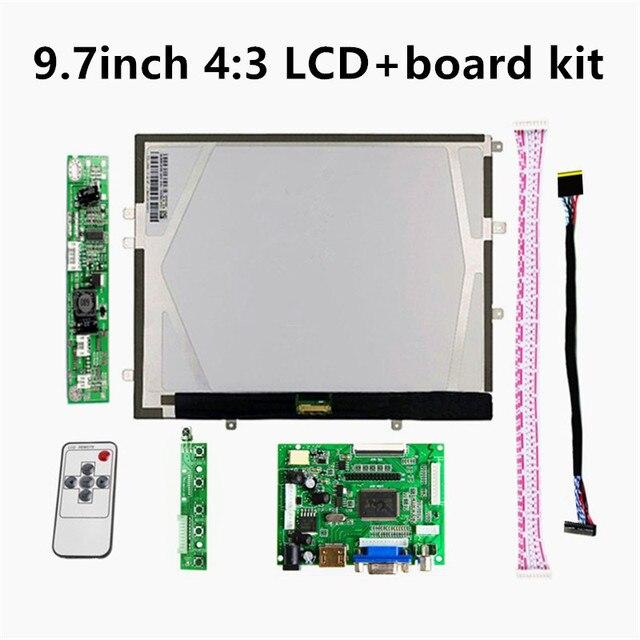"9,7 ""pulgadas 1024*768 HD pantalla LCD 4:3 controlador LP097X02 LTN097XL01 monitor Placa de controlador VGA HDMI 2AV para Raspberry Pi"