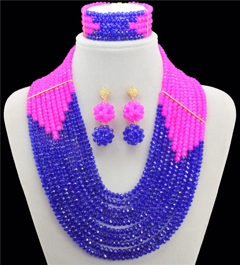 Peach Blue Nigerian Wedding African Beads Jewelry Set Crystal Rhinestone Flower Crystal Beads Gold-color Jewelry Sets