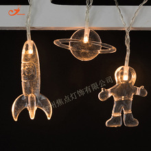 HOT SALE Child Bedroom Decoration 10 LED PVC String Lights Flashlight Astronaut Scientist Spacecraft Rocket Colorful Bulb Lamp