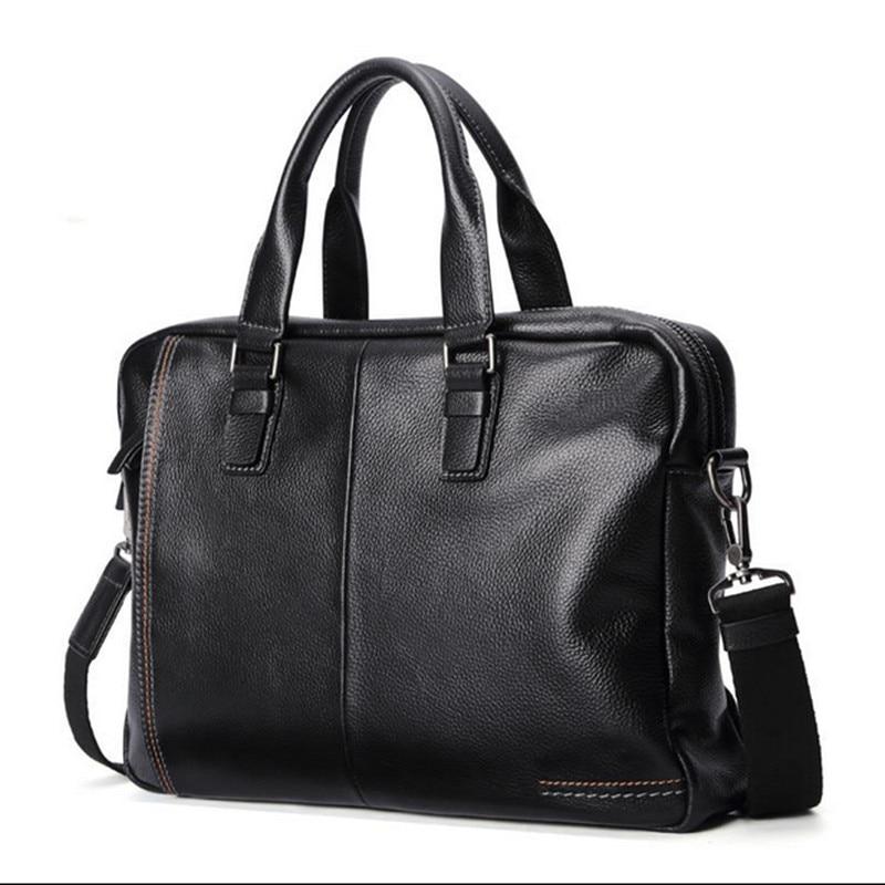 New Natural Cowskin Genuine Leather MenS Briefcase Fashion Large Capacity Business Bag Black Male Shoulder Laptop Bag,Black