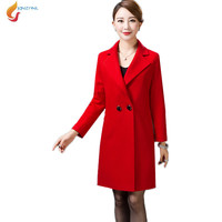 JQNZHNL Medium long woolen coats 2018 autumn new middle-aged women spring Windbreaker jacket Plus size 4XL high-end jacket AD136