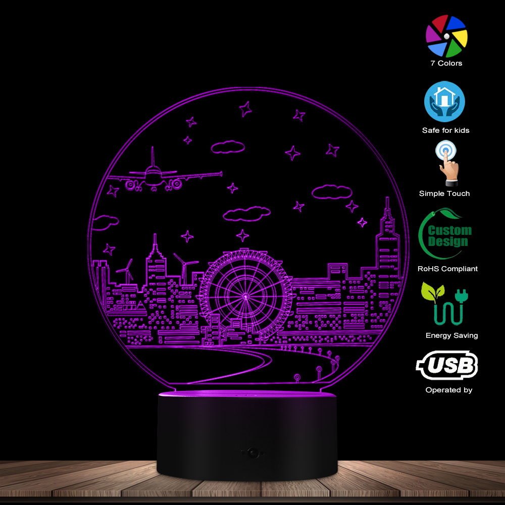 Night Scene Table 3D Optical Illusion Night Light Switch LED Lighting Home Decor Atmosphere LED Visual Lamp Colorful Gradient