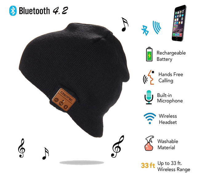2019 Warm Bluetooth Cap High quality wireless Bluetooth4.2 knit hat Headphone Speaker Mic Smart hat Earphone Free Christmas gift