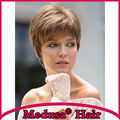Medusa hair products: Sophisticated pixie cut Synthetic pastel wigs for women Short straight Mix color wig with bangs SW0141A
