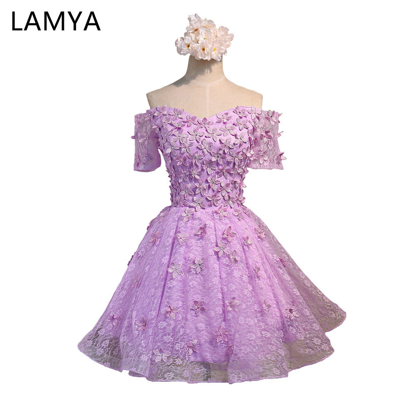 LAMYA Customizable Short A line Lace   Prom     Dresses   With Appliques 2019 Special Occasion   Dress   Party homecoming   dresses