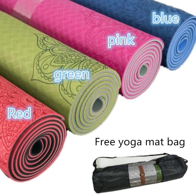 Non slip TPE Yoga Mat 6mm Fitness Mat for Fitness Yoga Sport Mat Gymnastics Slimming Mats Balanceth Pad Pilates Yogamat